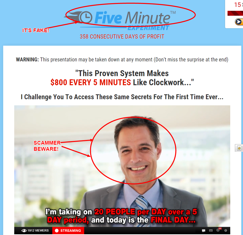 Five Minute Experiment scam