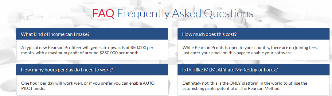 Pearson Profits Scamers FAQs