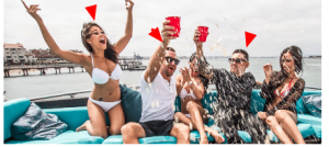 Fous Alerts near nude girls partying on a boat