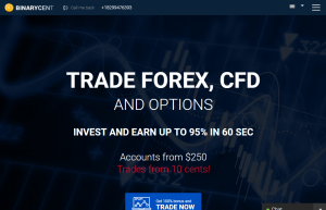 Binarycent Forex and CFD broker with possibility to trade in cents