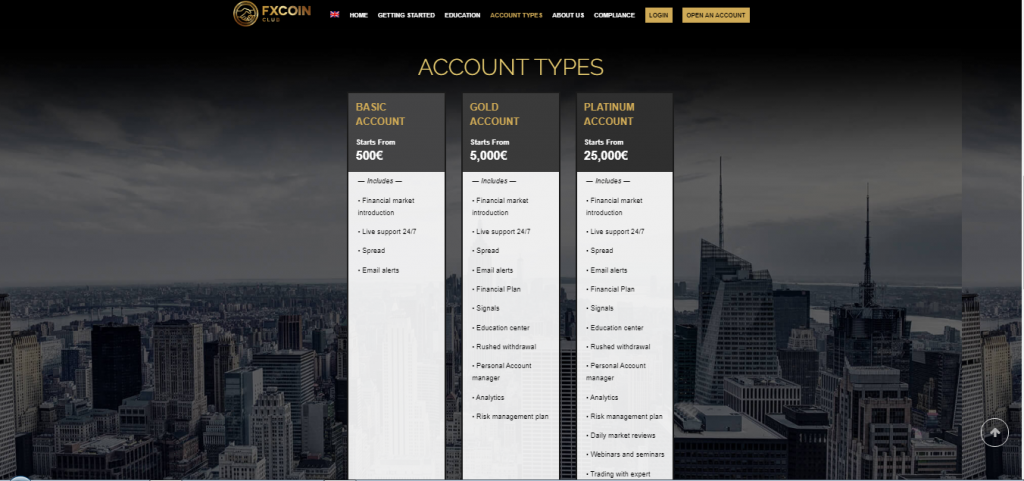 FXCoinClub Account Types