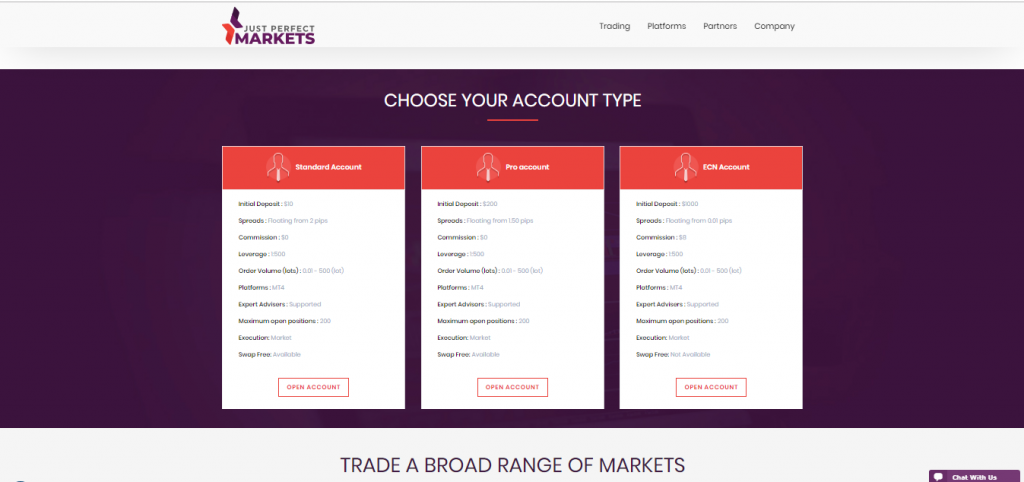 Just Perfect Markets Account Types