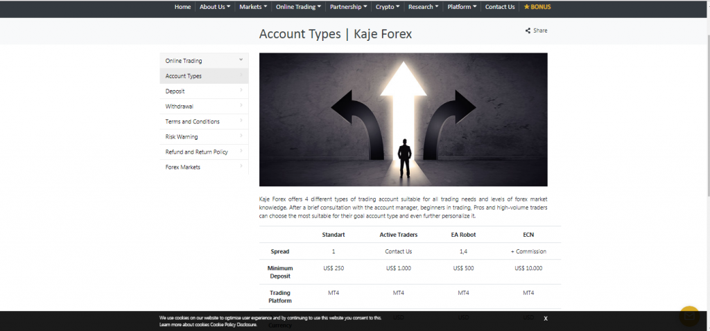 KajeFX Account Types