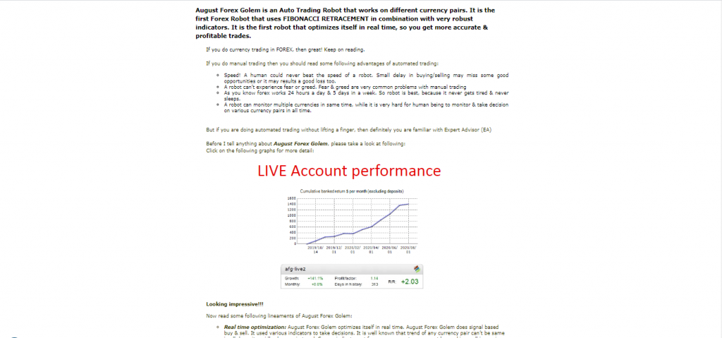 Live Trading Results FX Blue