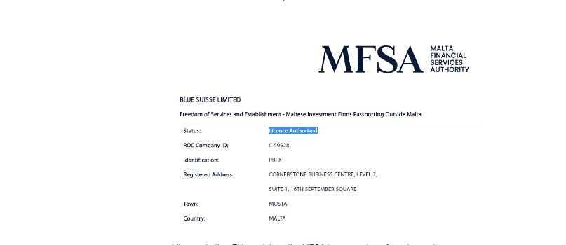 Blue Suisse License and reiatration
