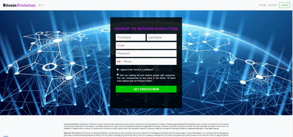 Bitcoin Evolution Signup Process