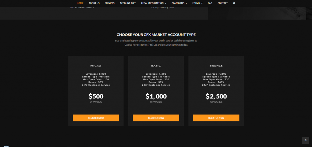 CFX Market Account Types