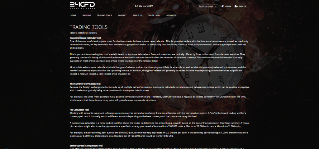 24CFD Trading tools