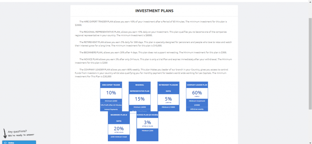 Lex Capital Account Types/ Investment Plan