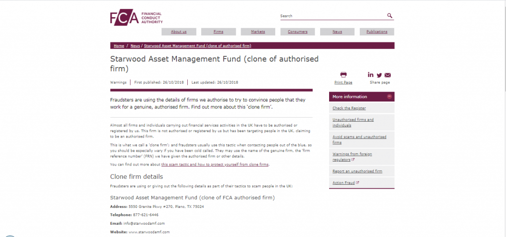Starwood Asset Management Fund License Details