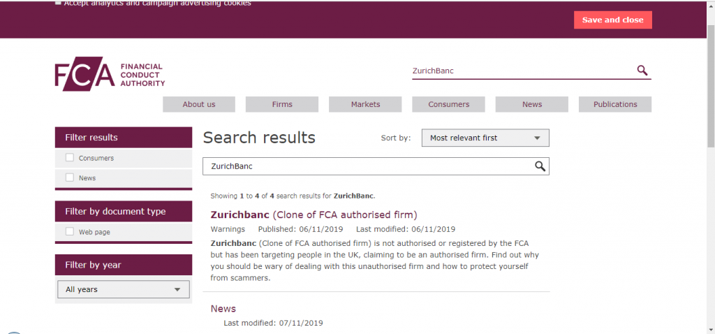 ZurichBanc License and Regulation