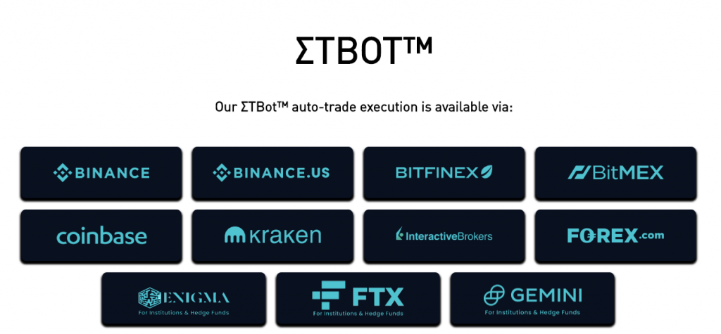 ETBot exchanges and OTC Providers