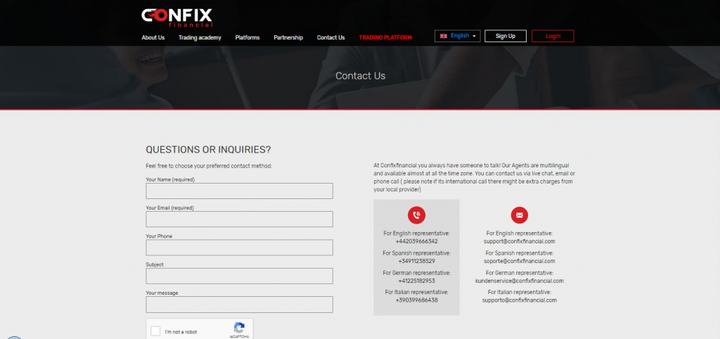 Confix Financial Contact Page