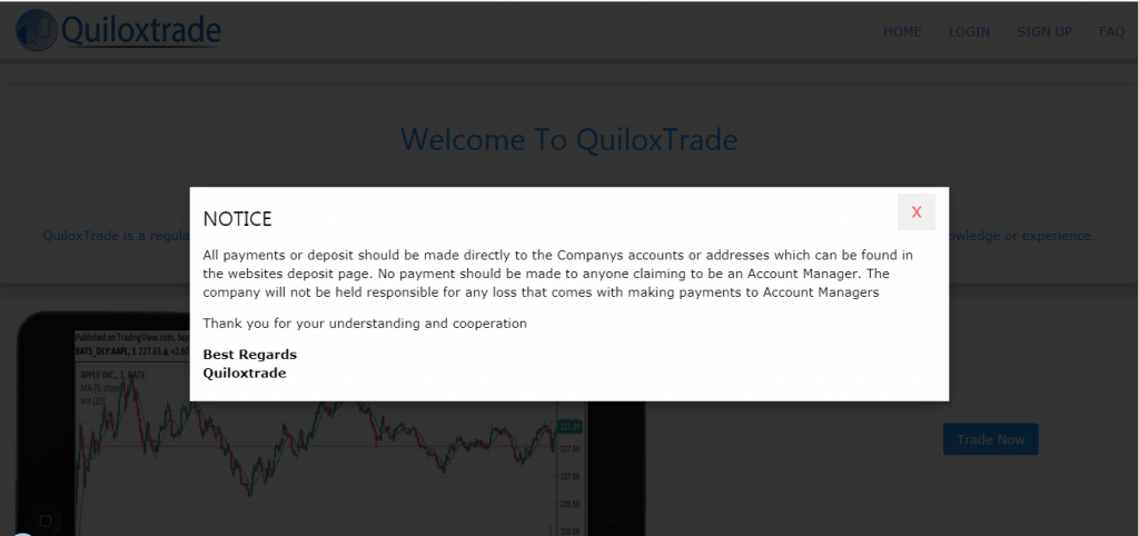 QuiloxTrade Deposit and Withdrawal/ Payment Options