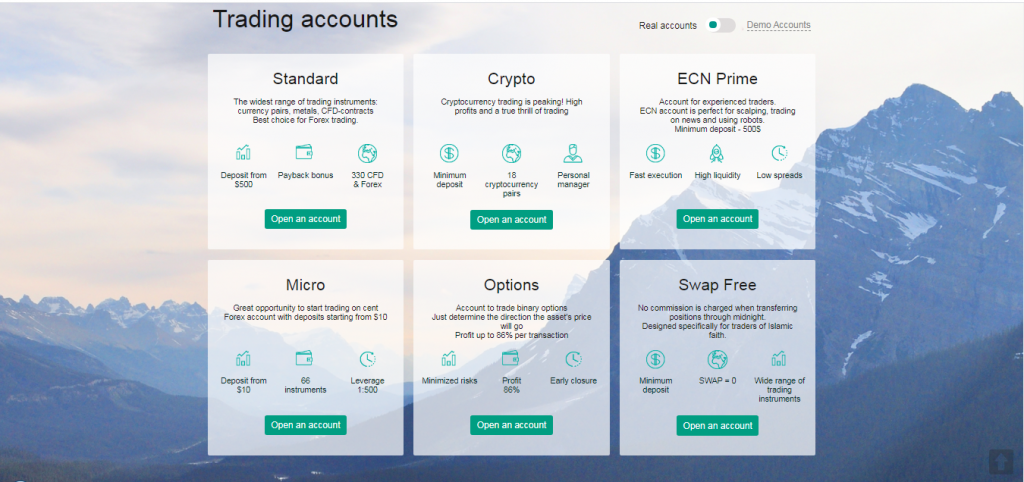 Standard Bit Options Account Types