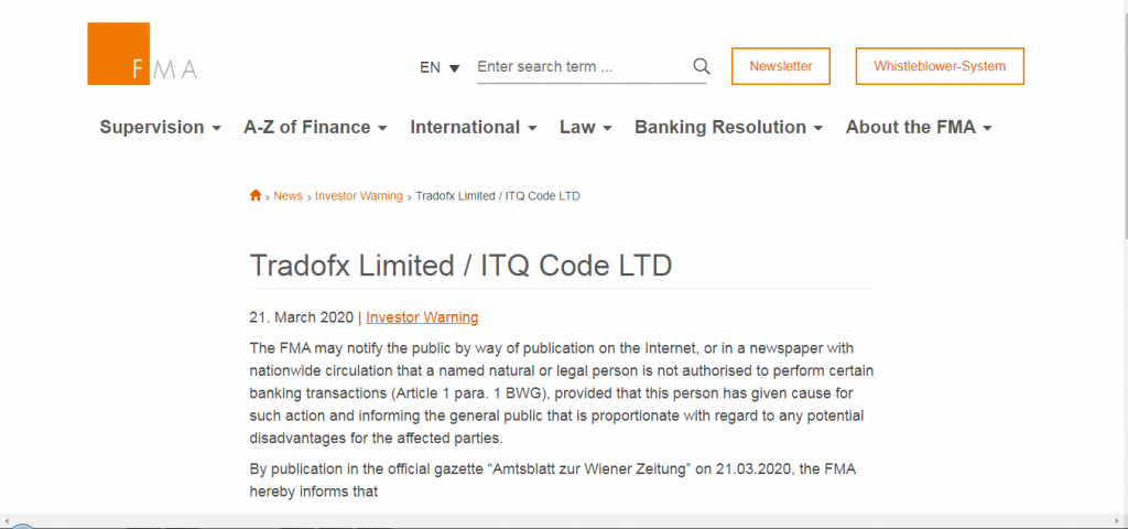 TradoFX License and registration Warning from Financial Markets Authority