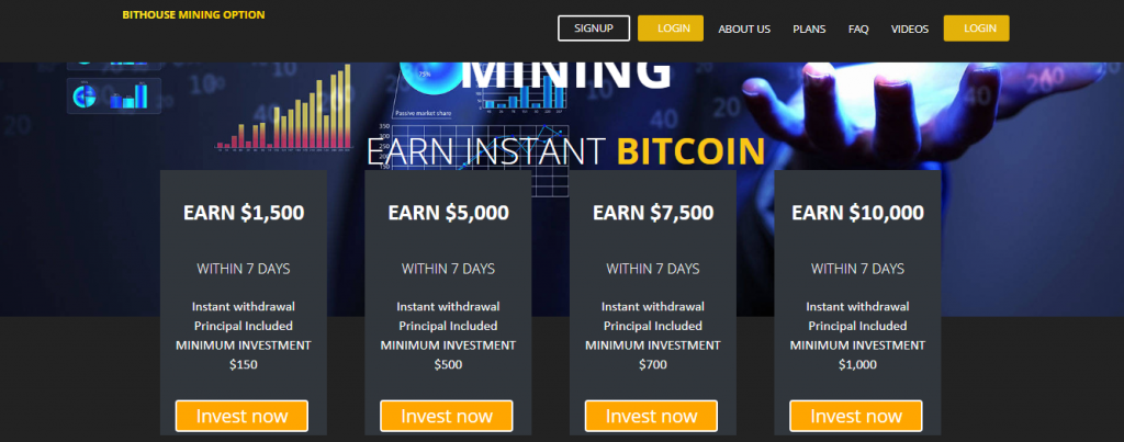 Bithouse Mining Option Scam Review, Bithouse Mining Option Plan