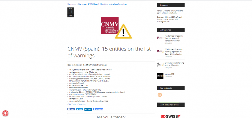 CryptoCapitalPro CNMV Warning