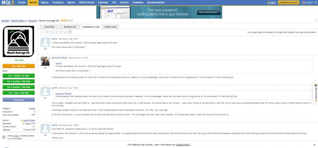 تحميل متوسط تعليقات وتعليقات مستخدم EA