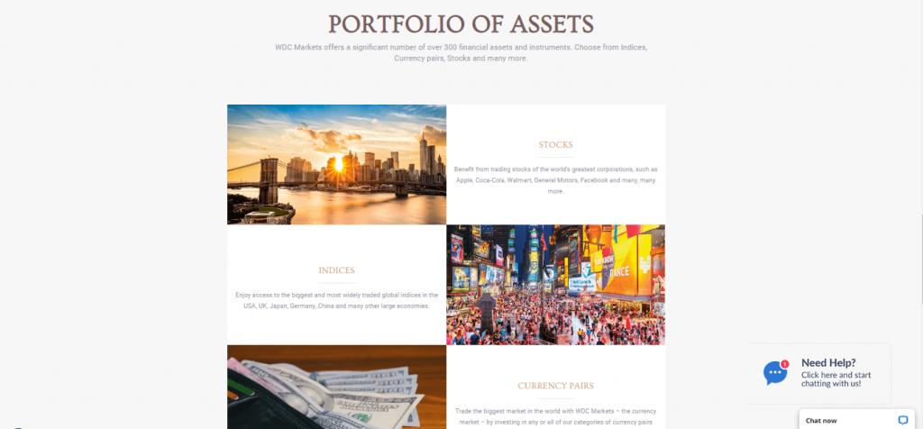 WDCMarkets Vermögenswerte und Handelsinstrumente