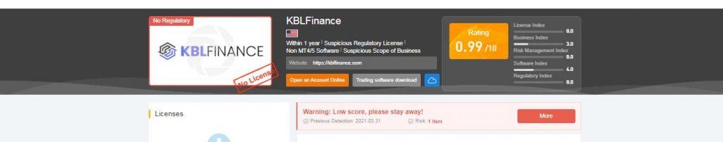 حالة الترخيص والتسجيل kblfinance.com