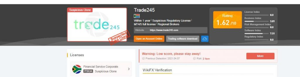 trade245.com license and registration status